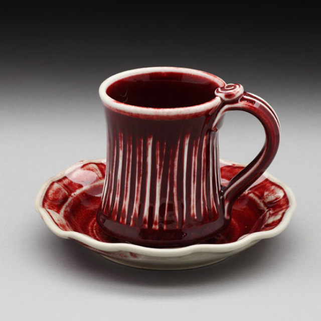 Pottery Nancy Zoller Cup and Saucer Red
