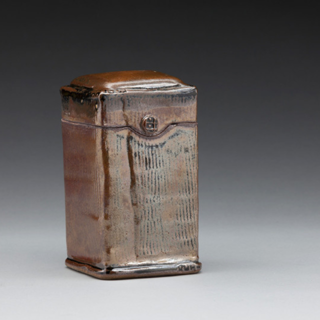 Tall Shino Canister by Nancy Zoller Pottery