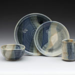 Thrown Place Setting of 4 Glaze: Monica Blue/Recipe C Tan