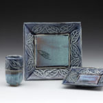 Hand Built Set of 3 Dinnerware Carved Leaf Glaze: Monica Blue/Seafoam