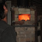 Neil's Soda Kiln with Large flame after Soda and Wood added